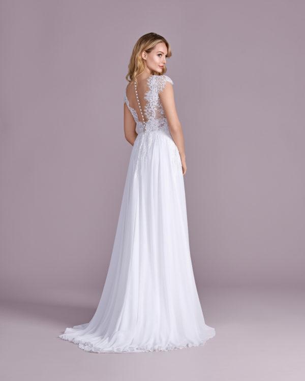 Brautkleid Mode De Pol Elizabeth Pailletten Perlen Transparent V Ausschnitt Chiffon Empire Schulterträger E 4492t 02