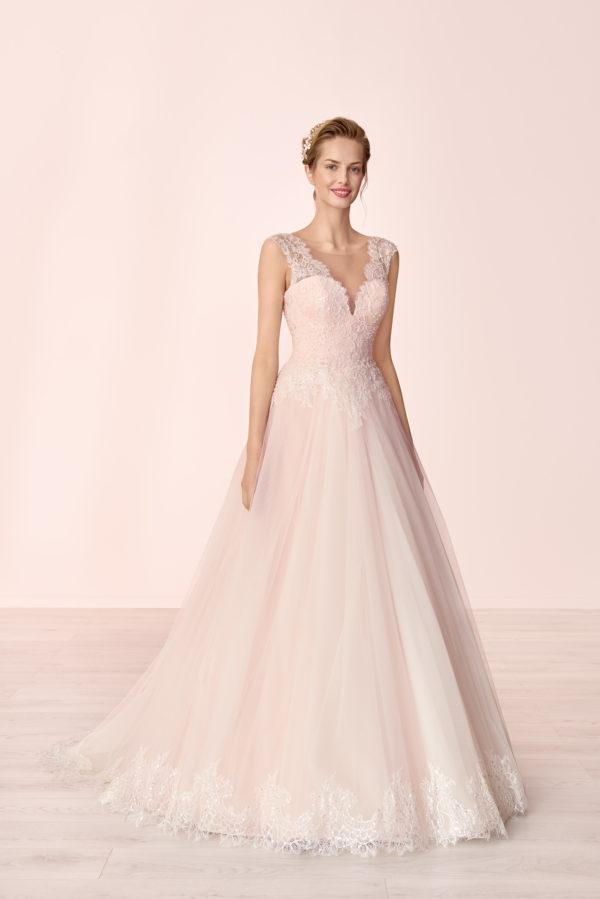 Brautkleid Mode De Pol Elizabeth Pailletten Rocksaum Herzausschnitt Tüll Prinzessin A Linie Schulterträger E 4063t 01