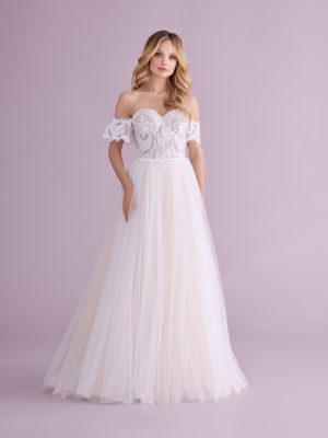Brautkleid Mode De Pol Elizabeth Pailletten Transparent Schnürung Herzausschnitt Tüll A Linie Trägerlos E 4404t 01