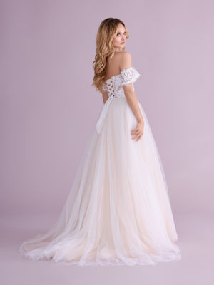 Brautkleid Mode De Pol Elizabeth Pailletten Transparent Schnürung Herzausschnitt Tüll A Linie Trägerlos E 4404t 02