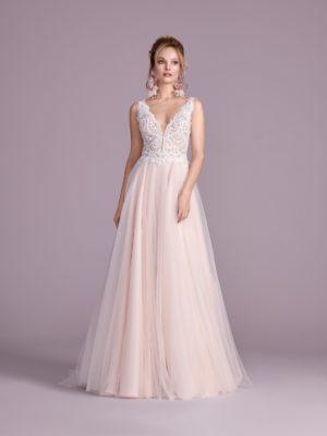 Brautkleid Mode De Pol Elizabeth Perlen Pailletten Transparent V Ausschnitt Tüll A Linie Schulterträger E 4430t 01