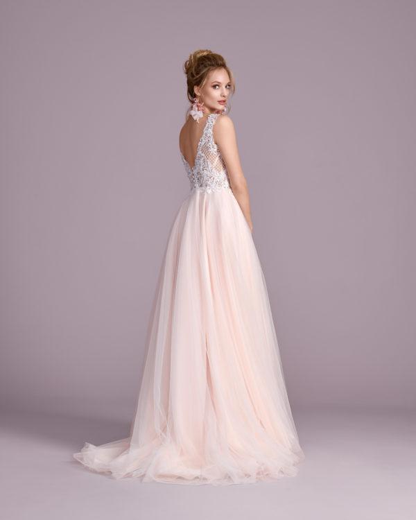 Brautkleid Mode De Pol Elizabeth Perlen Pailletten Transparent V Ausschnitt Tüll A Linie Schulterträger E 4430t 02