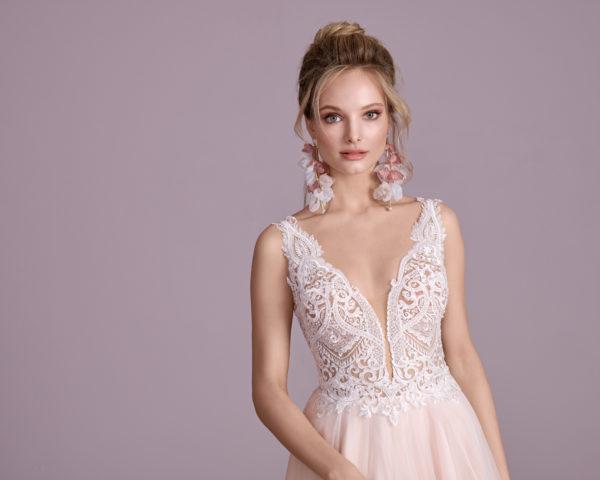Brautkleid Mode De Pol Elizabeth Perlen Pailletten Transparent V Ausschnitt Tüll A Linie Schulterträger E 4430t 03