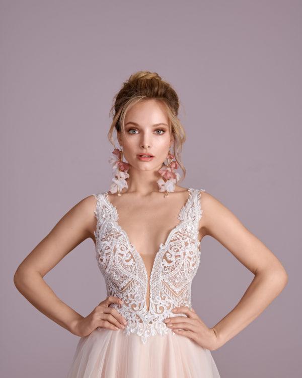 Brautkleid Mode De Pol Elizabeth Perlen Pailletten Transparent V Ausschnitt Tüll A Linie Schulterträger E 4430t 04
