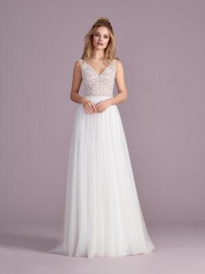 Brautkleid Mode De Pol Elizabeth Perlen Transparent V Ausschnitt Tüll A Linie Schulterträger E 4400t 01