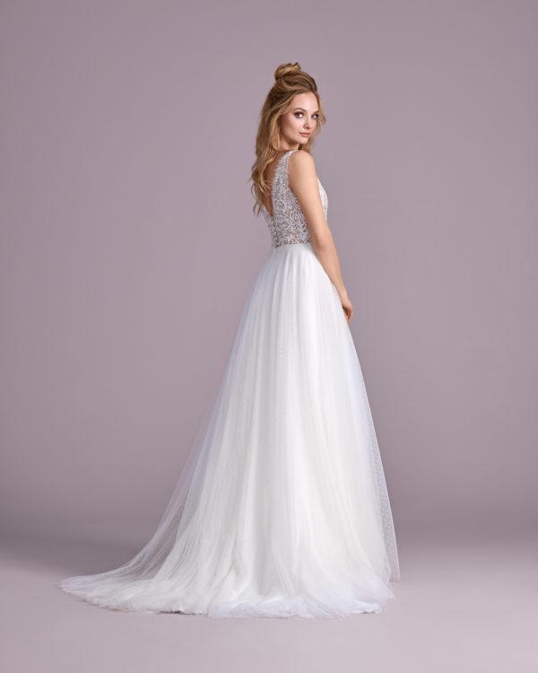 Brautkleid Mode De Pol Elizabeth Perlen Transparent V Ausschnitt Tüll A Linie Schulterträger E 4400t 02