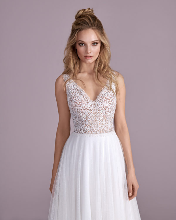 Brautkleid Mode De Pol Elizabeth Perlen Transparent V Ausschnitt Tüll A Linie Schulterträger E 4400t 03