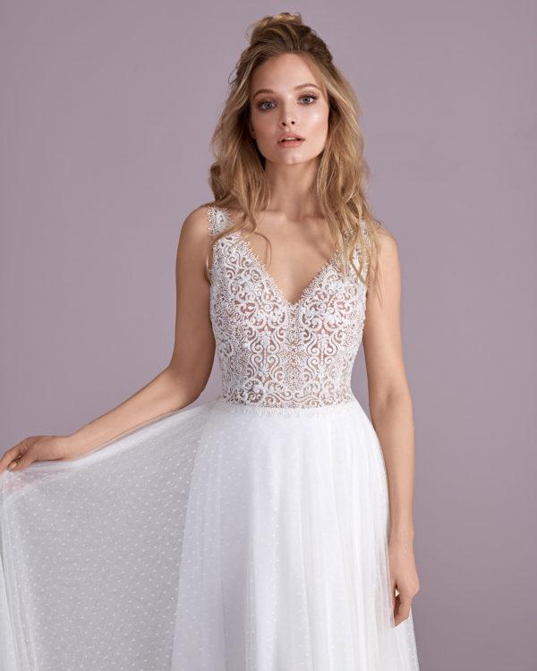 Brautkleid Mode De Pol Elizabeth Perlen Transparent V Ausschnitt Tüll A Linie Schulterträger E 4400t 04
