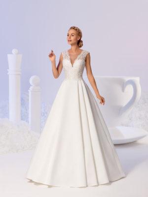 Brautkleid Mode De Pol Elizabeth Satin Schlicht Mit Tasche V Ausschnitt Herzausschnitt Satin Prinzessin A Linie Schulterträger E 3823t 01