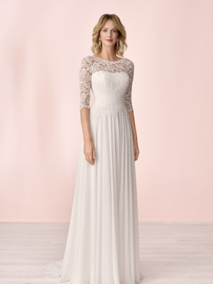 Brautkleid Mode De Pol Elizabeth Schlicht Boot Ausschnitt Chiffon Empire E 4145t 01