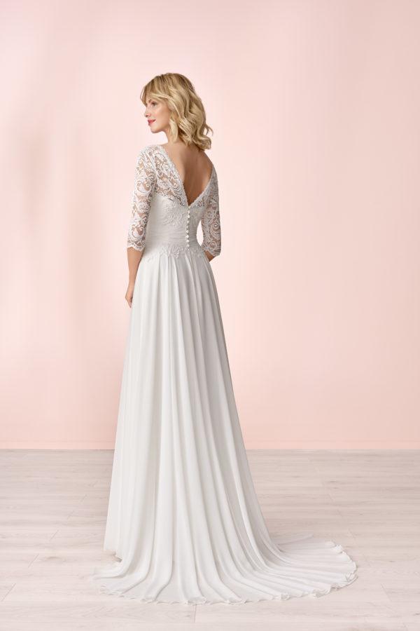 Brautkleid Mode De Pol Elizabeth Schlicht Boot Ausschnitt Chiffon Empire E 4145t 02