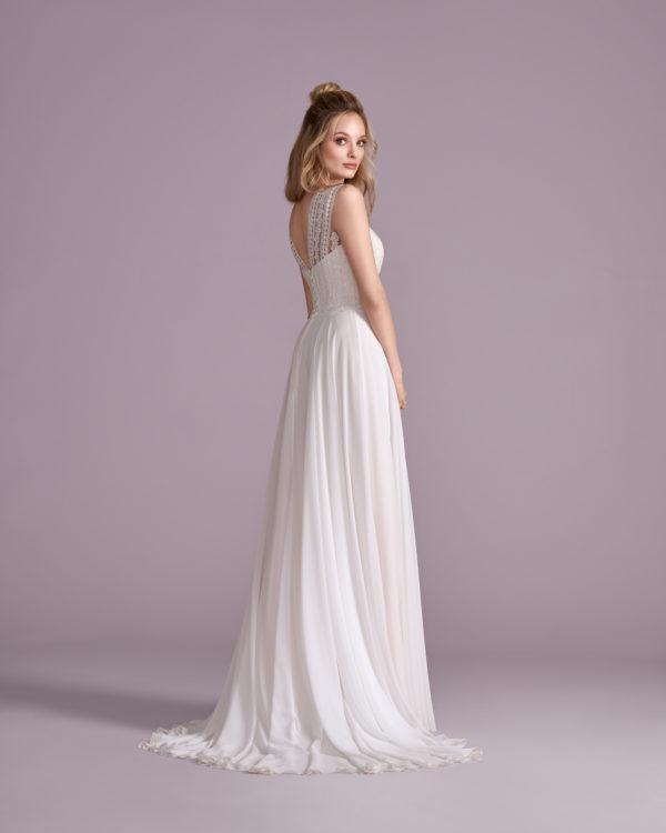 Brautkleid Mode De Pol Elizabeth Schlicht Herzausschnitt Chiffon A Linie Schulterträger E 4417t 02