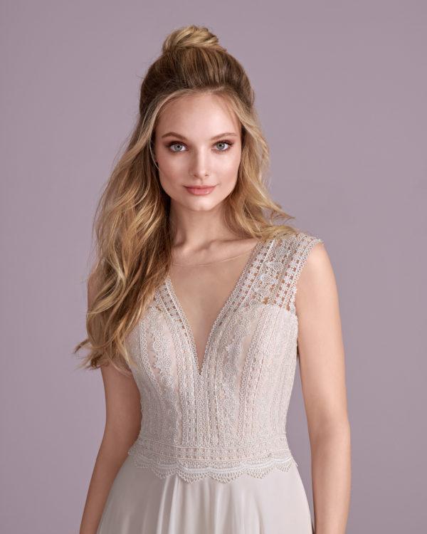 Brautkleid Mode De Pol Elizabeth Schlicht Herzausschnitt Chiffon A Linie Schulterträger E 4417t 03