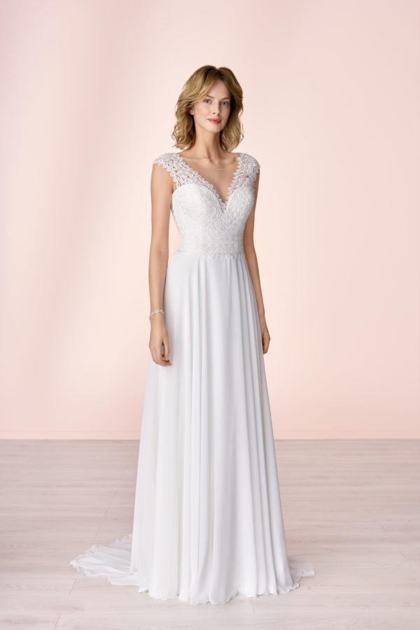 Brautkleid Mode De Pol Elizabeth Schlicht Herzausschnitt Chiffon Empire Schulterträger E 4053t 01