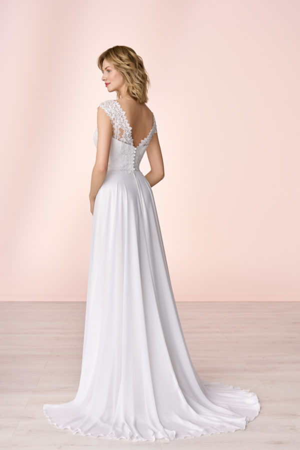 Brautkleid Mode De Pol Elizabeth Schlicht Herzausschnitt Chiffon Empire Schulterträger E 4053t 02