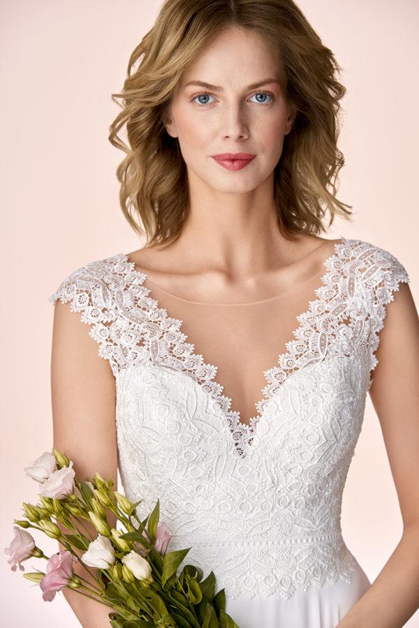 Brautkleid Mode De Pol Elizabeth Schlicht Herzausschnitt Chiffon Empire Schulterträger E 4053t 03