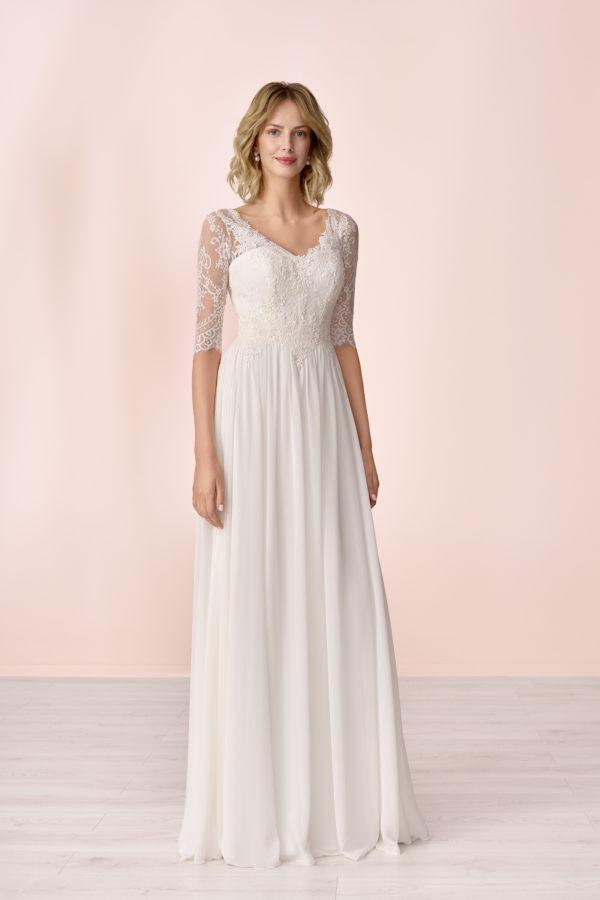 Brautkleid Mode De Pol Elizabeth Schlicht Herzausschnitt Chiffon Empire Schulterträger E 4149t 01