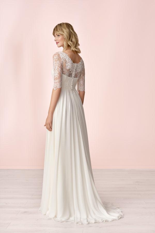 Brautkleid Mode De Pol Elizabeth Schlicht Herzausschnitt Chiffon Empire Schulterträger E 4149t 02