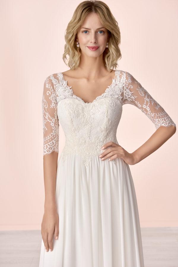 Brautkleid Mode De Pol Elizabeth Schlicht Herzausschnitt Chiffon Empire Schulterträger E 4149t 03