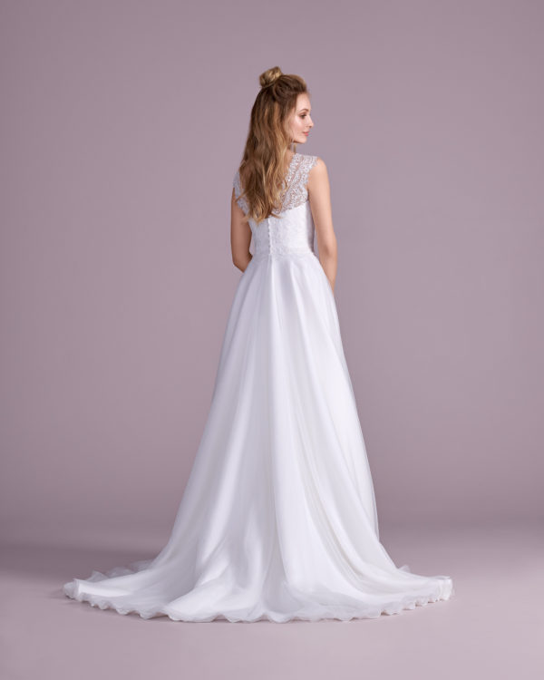 Brautkleid Mode De Pol Elizabeth Schlicht Herzausschnitt Tüll A Linie Schulterträger E 4412t 02