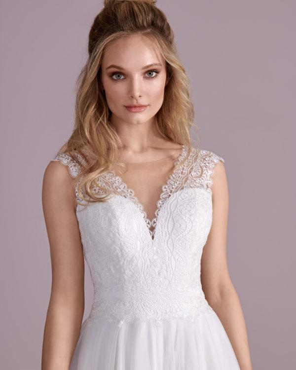 Brautkleid Mode De Pol Elizabeth Schlicht Herzausschnitt Tüll A Linie Schulterträger E 4412t 03