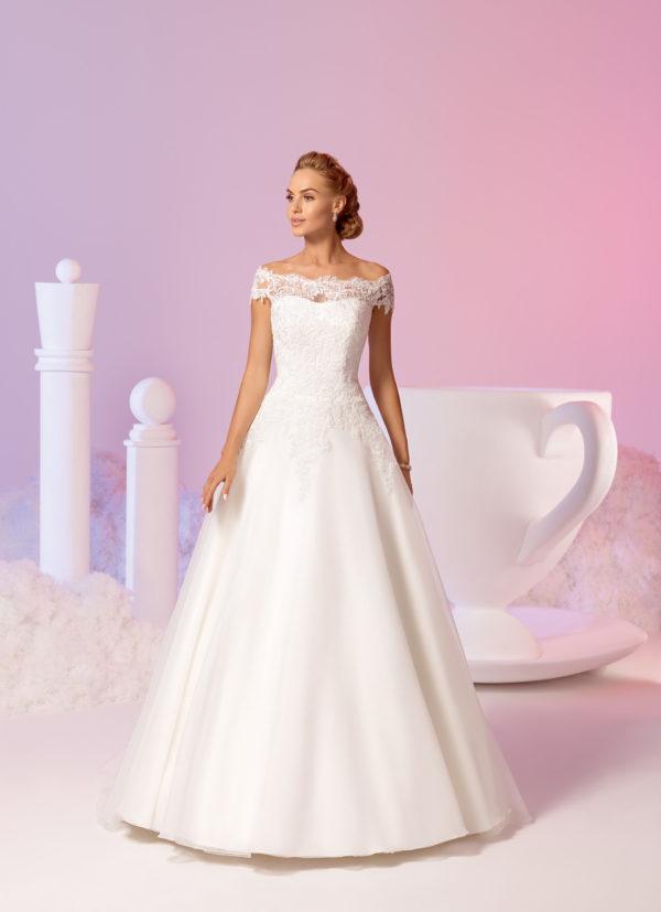 Brautkleid Mode De Pol Elizabeth Schlicht Pailletten Boot Ausschnitt Organza A Linie Carmen E 3711t 01