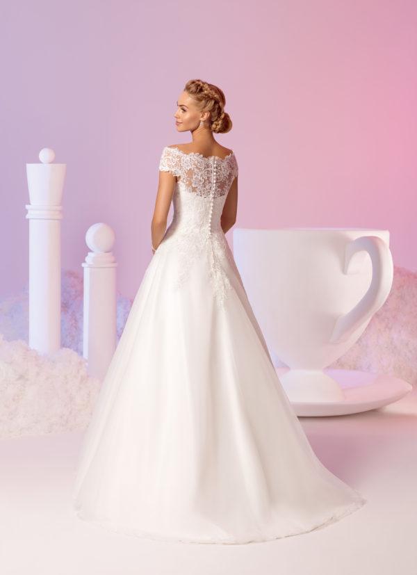 Brautkleid Mode De Pol Elizabeth Schlicht Pailletten Boot Ausschnitt Organza A Linie Carmen E 3711t 02
