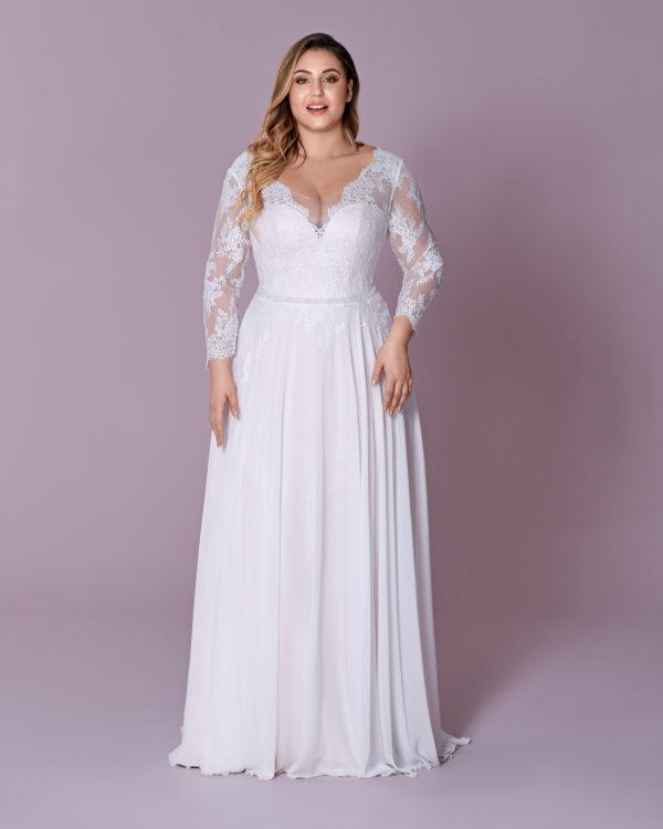 Brautkleid Mode De Pol Elizabeth Schnürung Curvy Perlen Gürtel Herzausschnitt Chiffon A Linie M 117t 01