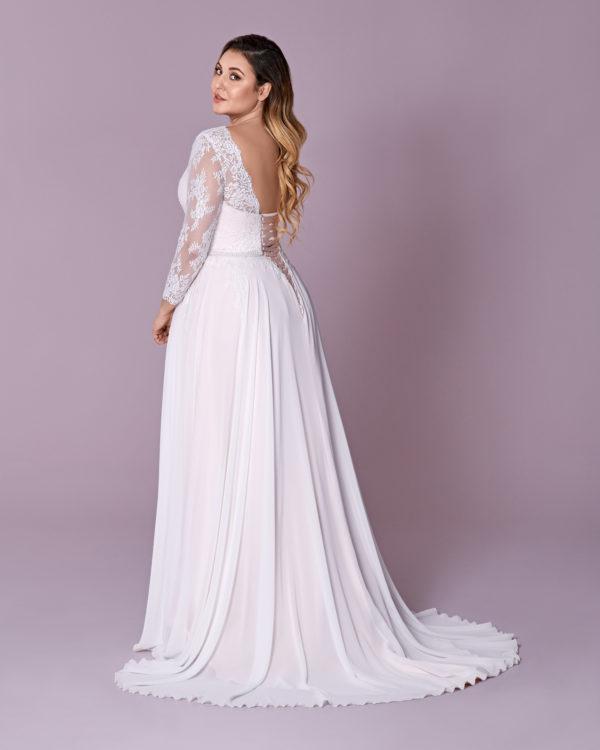 Brautkleid Mode De Pol Elizabeth Schnürung Curvy Perlen Gürtel Herzausschnitt Chiffon A Linie M 117t 02