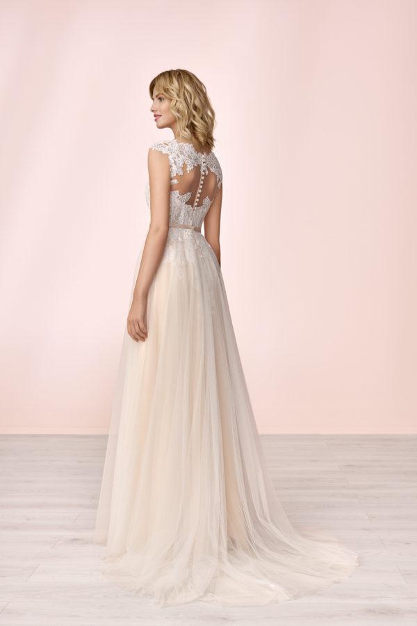 Brautkleid Mode De Pol Elizabeth Strassapplikation Gürtel Herzausschnitt Tüll A Linie Schulterträger E 4133t 02