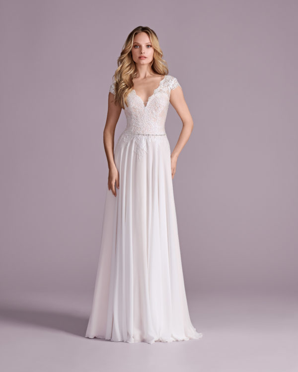 Brautkleid Mode De Pol Elizabeth Strassapplikation Gürtel Herzausschnitt Tüll A Linie Schulterträger E 4575t 01