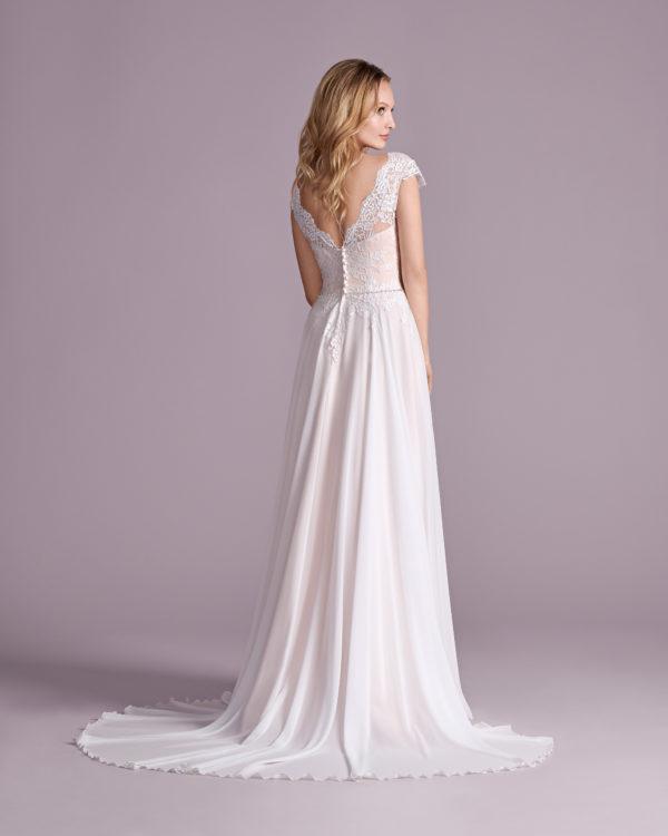 Brautkleid Mode De Pol Elizabeth Strassapplikation Gürtel Herzausschnitt Tüll A Linie Schulterträger E 4575t 02
