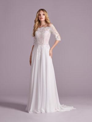 Brautkleid Mode De Pol Elizabeth Strassapplikation Schlicht Gürtel Herzausschnitt Chiffon A Linie Carmen E 4499t 01