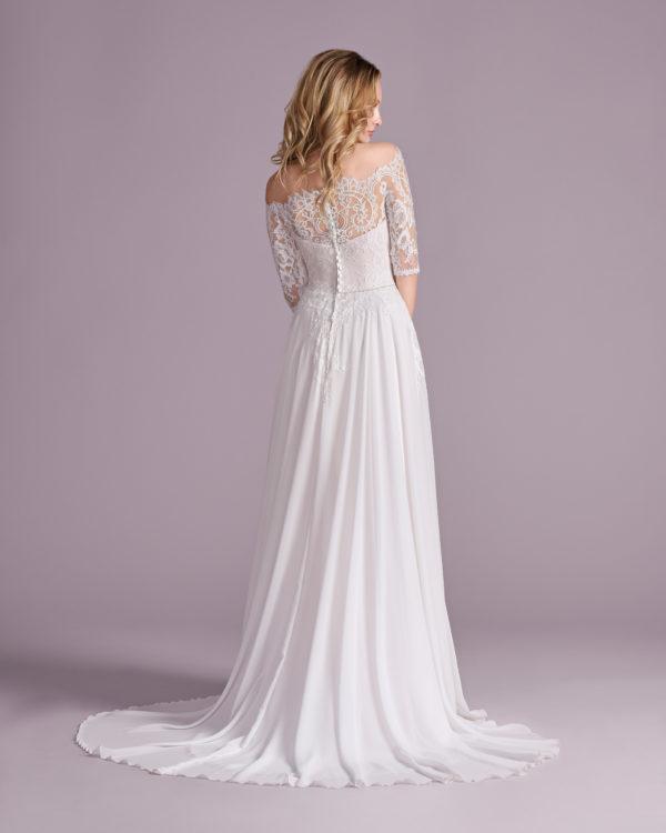 Brautkleid Mode De Pol Elizabeth Strassapplikation Schlicht Gürtel Herzausschnitt Chiffon A Linie Carmen E 4499t 02