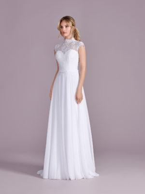 Brautkleid Mode De Pol Elizabeth Strassapplikation Schlicht Gürtel Herzausschnitt Chiffon A Linie Empire E 4495t 01