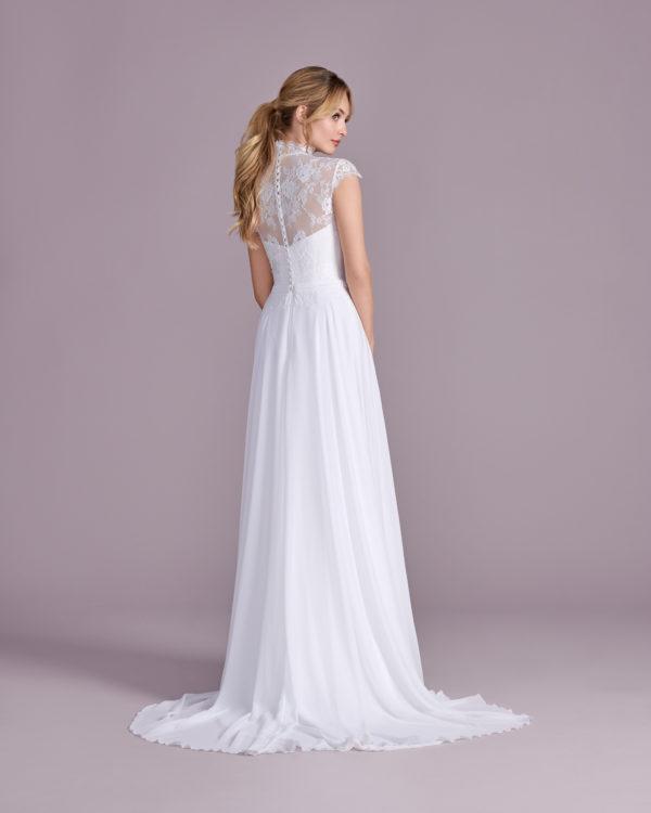 Brautkleid Mode De Pol Elizabeth Strassapplikation Schlicht Gürtel Herzausschnitt Chiffon A Linie Empire E 4495t 02