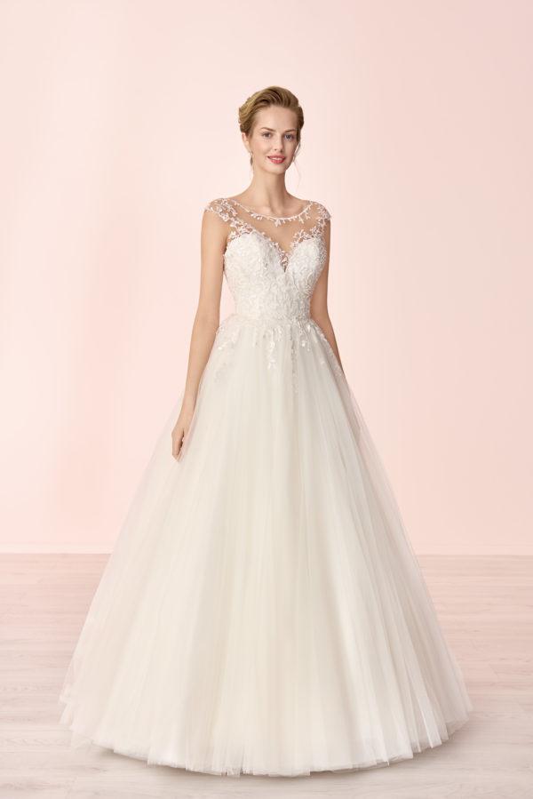Brautkleid Mode De Pol Elizabeth Tattoo Spitze Blumendeko Herzausschnitt Tüll Prinzessin A Linie E 4081t 01