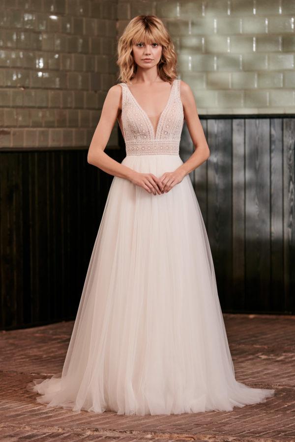 Brautkleid Mode De Pol Elizabeth Passion A Linie Tuell V Ausschnitt Glitzerfrei Transparent Schlicht Boho E 4841t 01.jpg