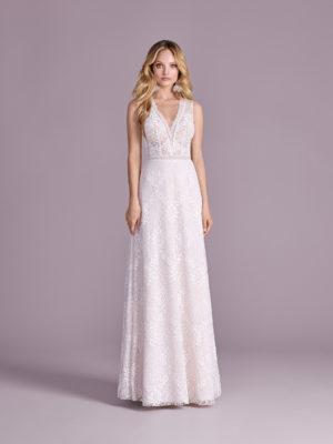 Brautkleid Mode De Pol Elizabeth Transparent Allover Spitze V Ausschnitt Spitze A Linie Schulterträger E 4554 01