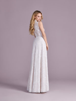 Brautkleid Mode De Pol Elizabeth Transparent Allover Spitze V Ausschnitt Spitze A Linie Schulterträger E 4554 02
