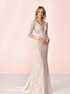 Brautkleid Mode De Pol Elizabeth Transparent Allover Spitze V Ausschnitt Spitze Meerjungfrau E 4043t 01
