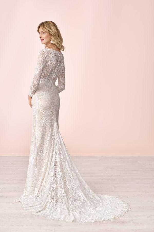 Brautkleid Mode De Pol Elizabeth Transparent Allover Spitze V Ausschnitt Spitze Meerjungfrau E 4043t 02