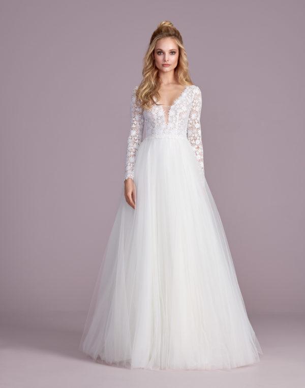 Brautkleid Mode De Pol Elizabeth Transparent Baumwollspitze Boho Schlicht V Ausschnitt Tüll A Linie E 4438t 01