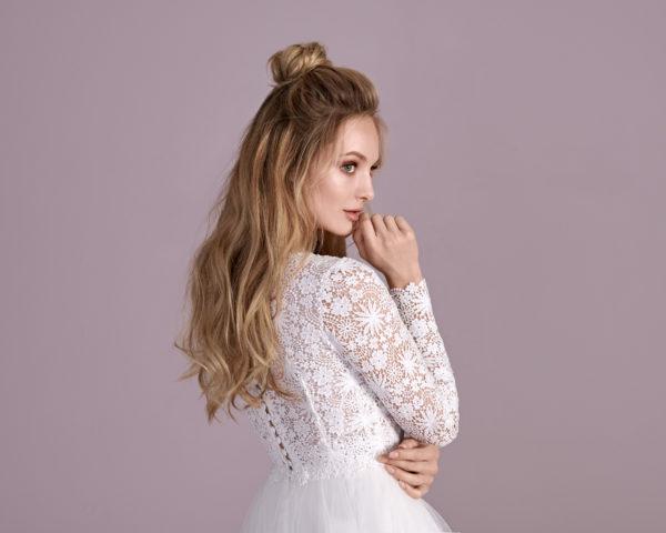 Brautkleid Mode De Pol Elizabeth Transparent Baumwollspitze Boho Schlicht V Ausschnitt Tüll A Linie E 4438t 02