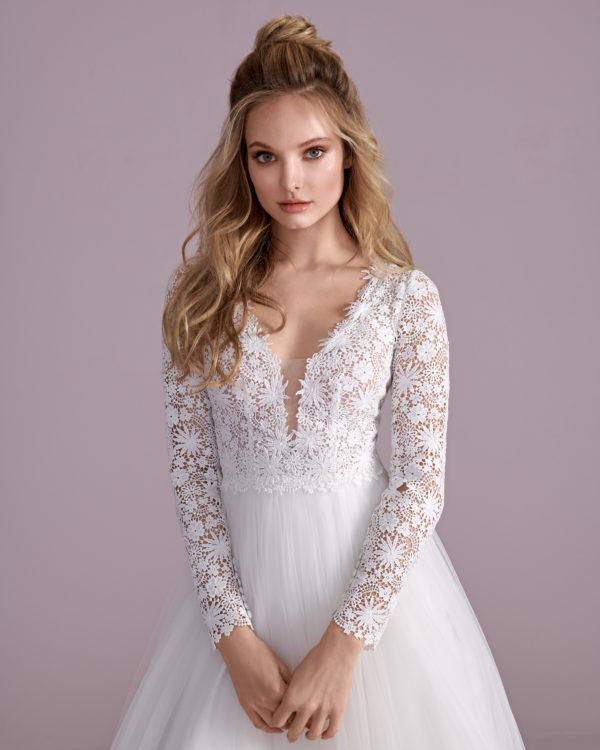 Brautkleid Mode De Pol Elizabeth Transparent Baumwollspitze Boho Schlicht V Ausschnitt Tüll A Linie E 4438t 03