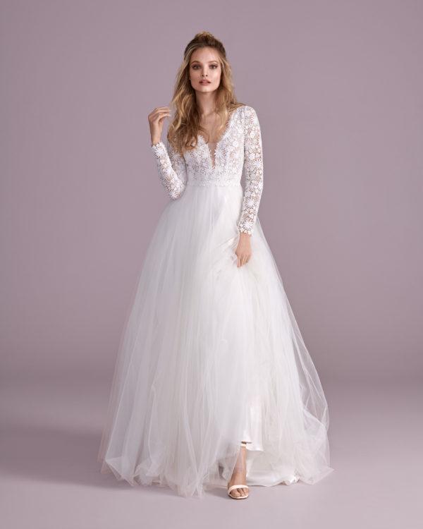 Brautkleid Mode De Pol Elizabeth Transparent Baumwollspitze Boho Schlicht V Ausschnitt Tüll A Linie E 4438t 04