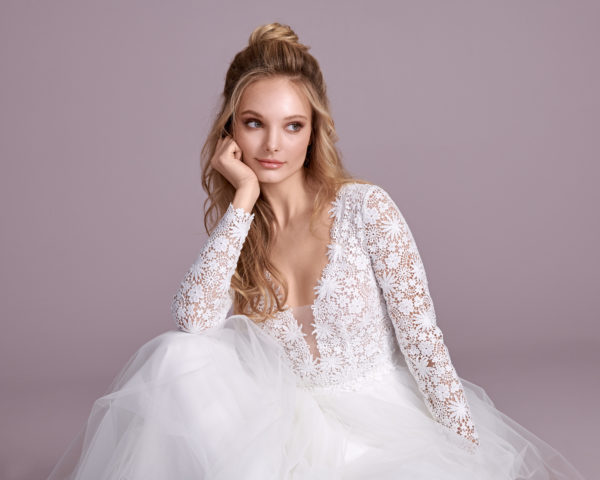 Brautkleid Mode De Pol Elizabeth Transparent Baumwollspitze Boho Schlicht V Ausschnitt Tüll A Linie E 4438t 05