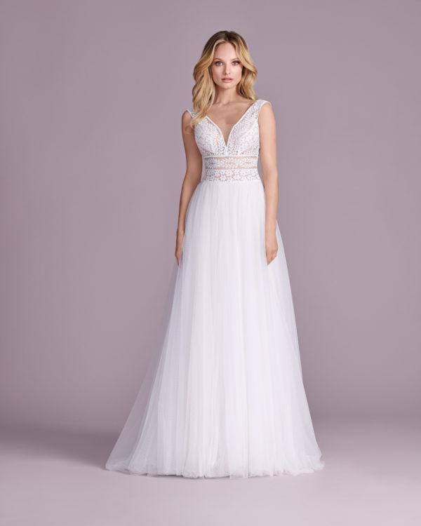 Brautkleid Mode De Pol Elizabeth Transparent Boho Schlicht Herzausschnitt Tüll A Linie Schulterträger E 4544t 01
