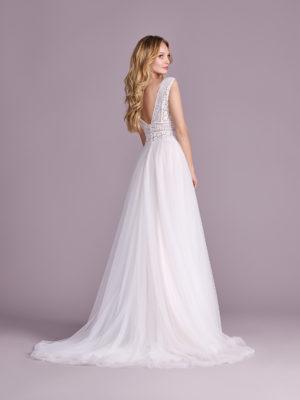Brautkleid Mode De Pol Elizabeth Transparent Boho Schlicht Herzausschnitt Tüll A Linie Schulterträger E 4544t 02