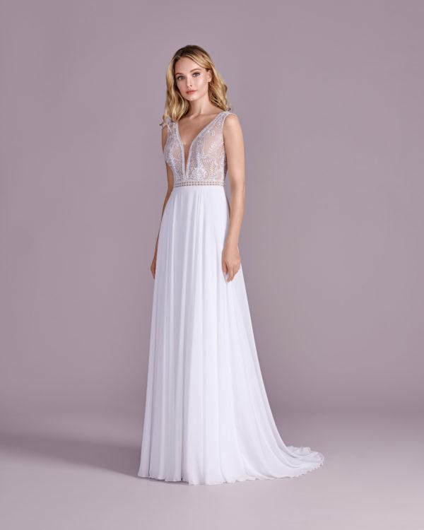 Brautkleid Mode De Pol Elizabeth Transparent Boho Schlicht V Ausschnitt Chiffon Empire Schulterträger E 4526t 01